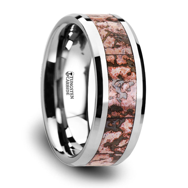 Thorsten Archean Pink Dinosaur Bone Inlaid Tungsten Carbide Beveled Edged Ring(8mm)C3811-TCDB