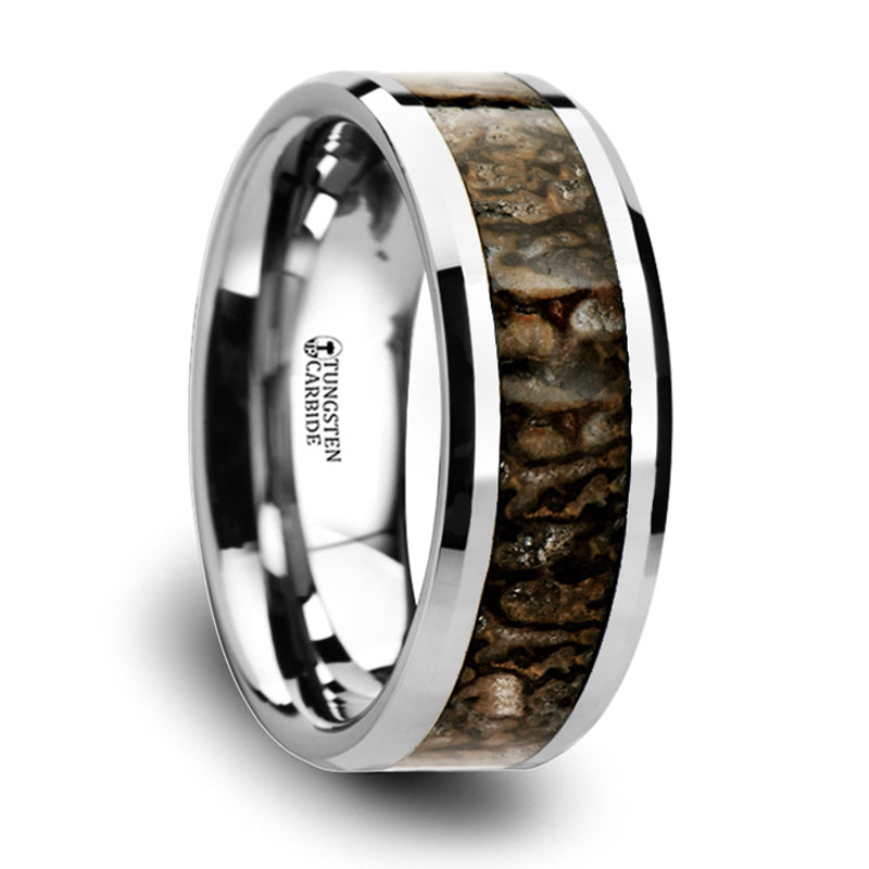 Thorsten Oedovician Dinosaur Bone Inlaid Tungsten Carbide Beveled Edged Ring(8mm)C3812-TCDB