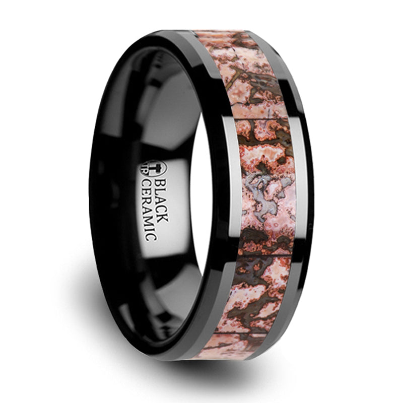 Thorsten Cambrian Pink Dinosaur Bone Inlaid Black Ceramic Beveled Edged Ring(8mm)C3815-TCDB