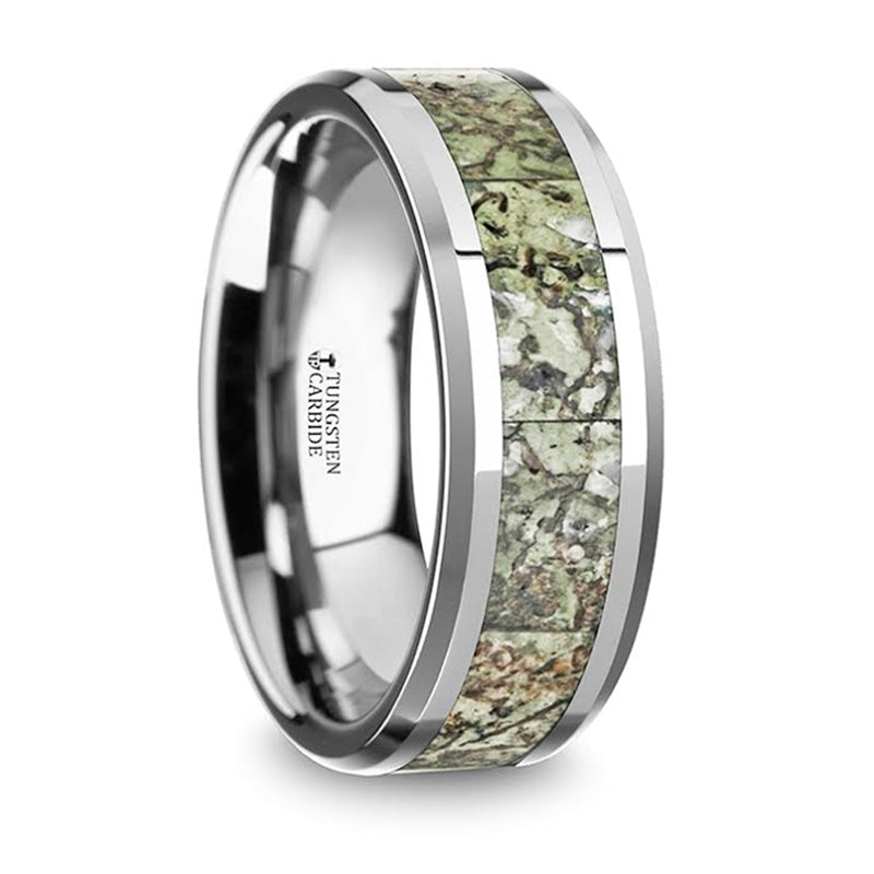 Thorsten Targaryen Men's Tungsten Wedding Band w/ Light Green Dinosaur Bone Inlay & Beveled Edges(8mm)C5725-TLGDB
