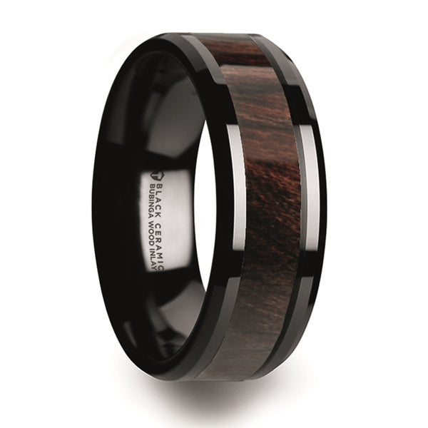 Thorsten Benny Black Ceramic Polished Beveled Edges Men's Wedding Band w/ Bubinga Wood Inlay (8mm) C5981-BCBW