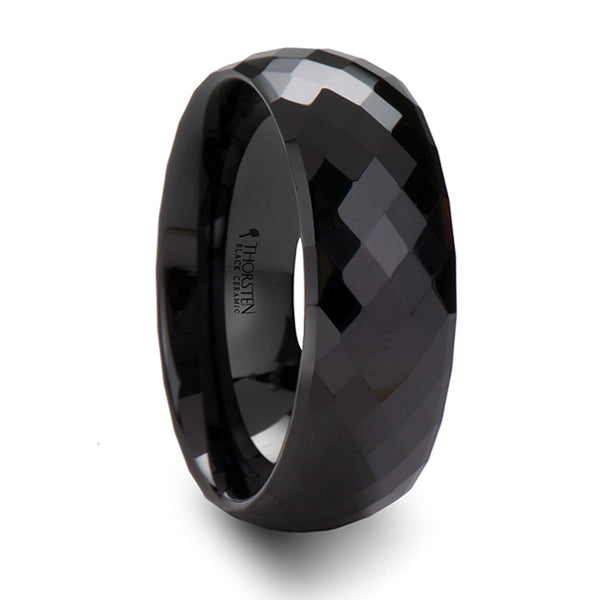 Thorsten Draco Black Ceramic Ring w/ 288 Diamond Facetes(4-8mm) C676-MDF