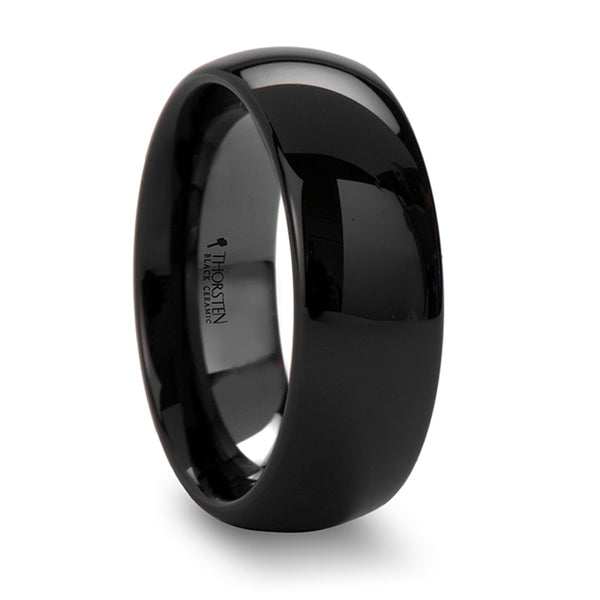 Thorsten Landon Domed Polish Finished Black Ceramic Ring(4-8mm) C684-DPB