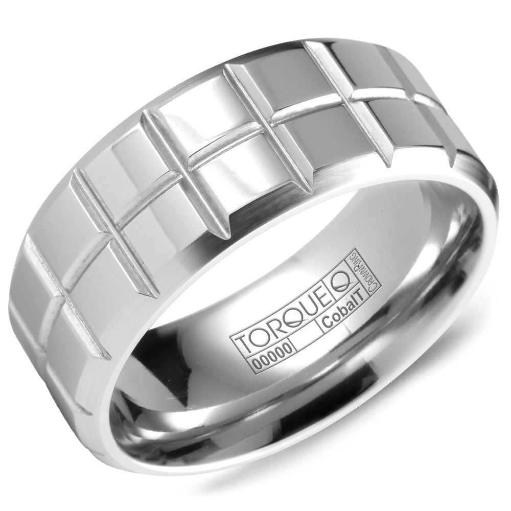 Torque Cobalt Collection 9MM Wedding Band with Architectural Detailing CB-2111