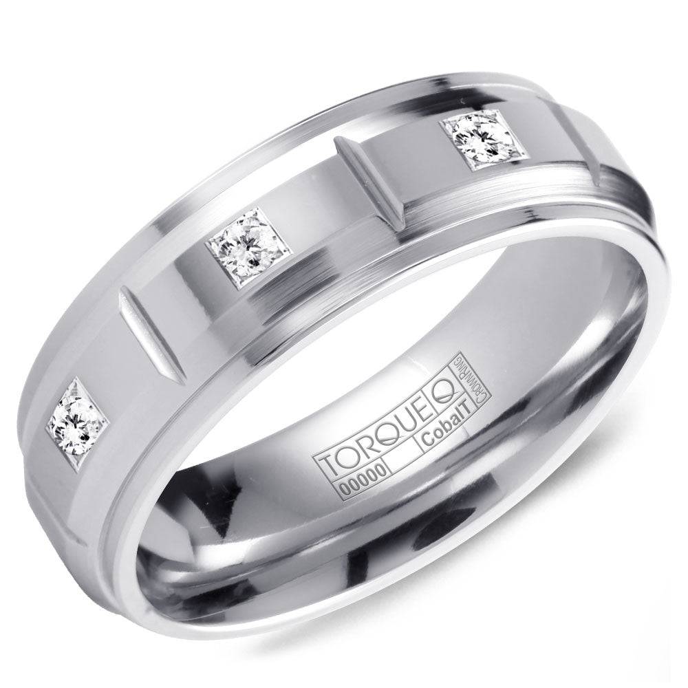Torque Cobalt Collection 7MM Wedding Band with 3 Diamonds CB-2151