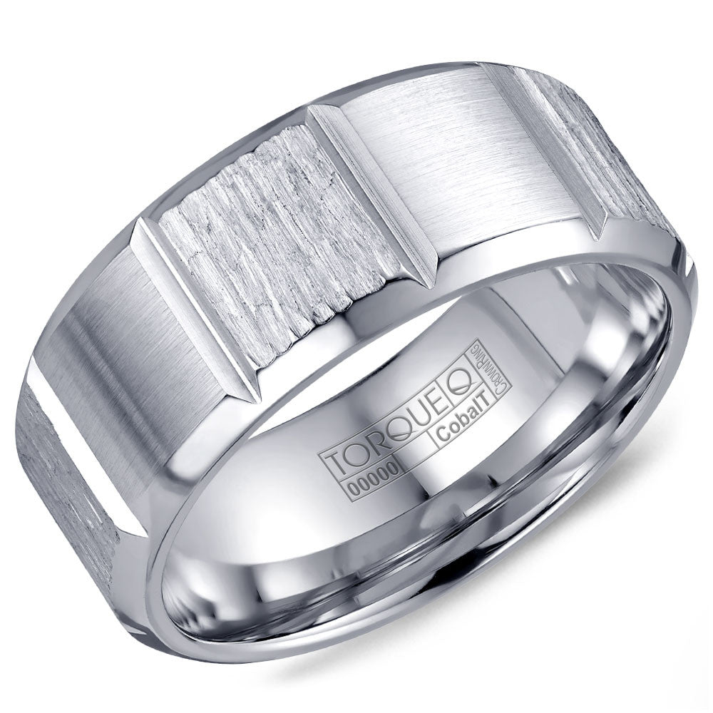 Torque Cobalt Collection 9MM Wedding Band with Textured Center & Carved Detailing CB-2193
