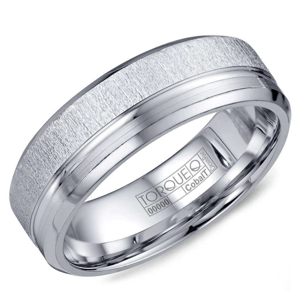Torque Cobalt Collection 7MM Wedding Band with Textured & Line Detailing CB-2198