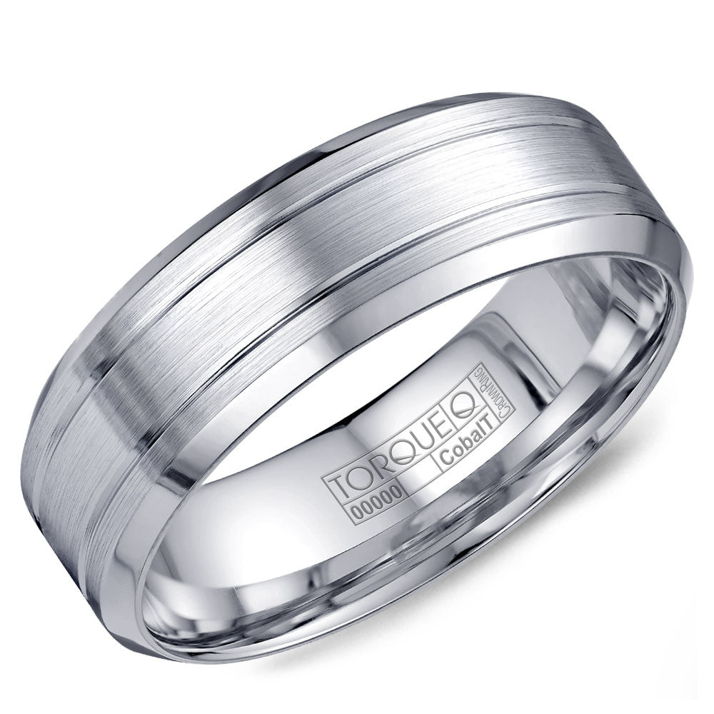Torque Cobalt Collection 7MM Wedding Band with Textured Finish & Beveled Edges CB-2199