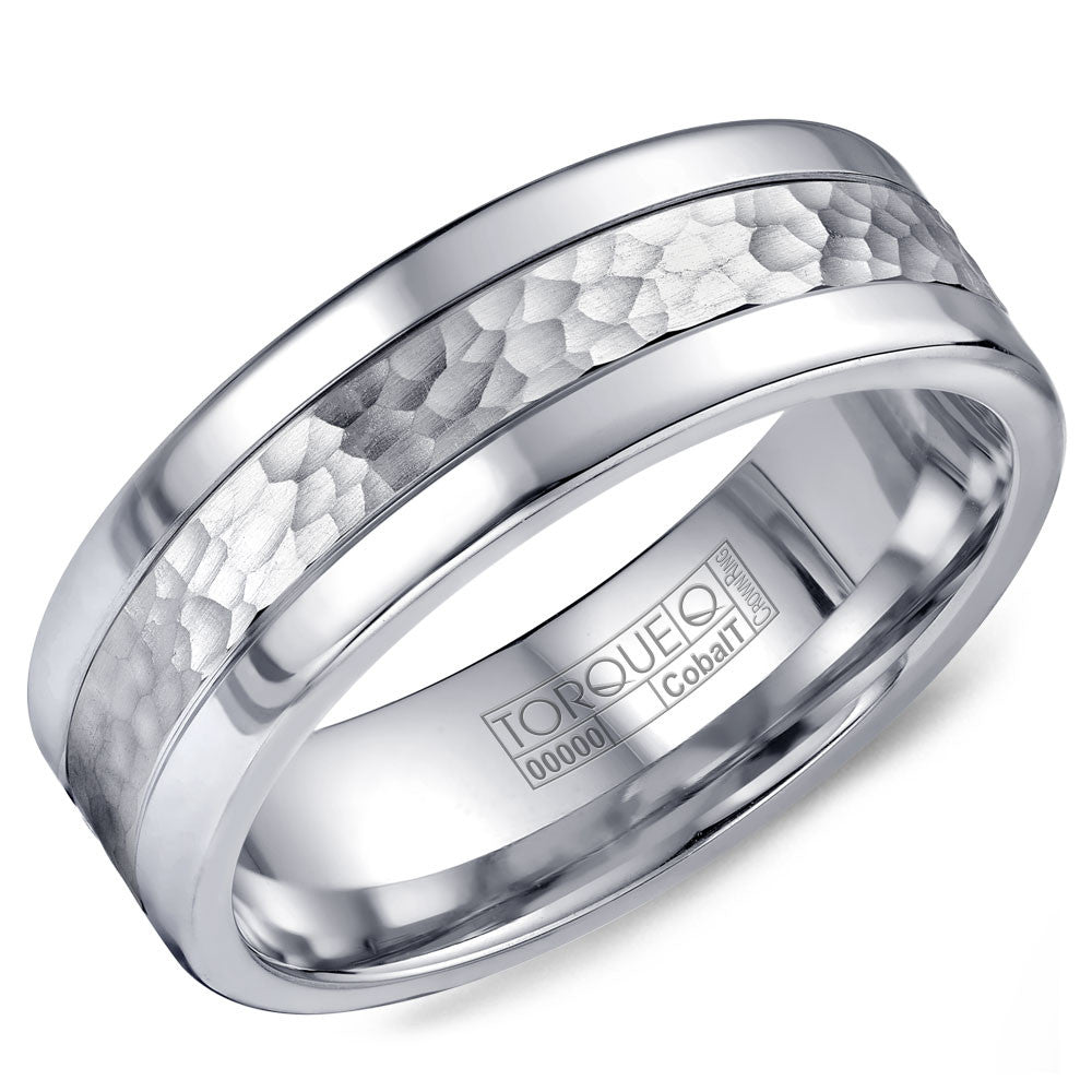Torque Cobalt Collection 7MM Wedding Band with Hammered Center CB-2202