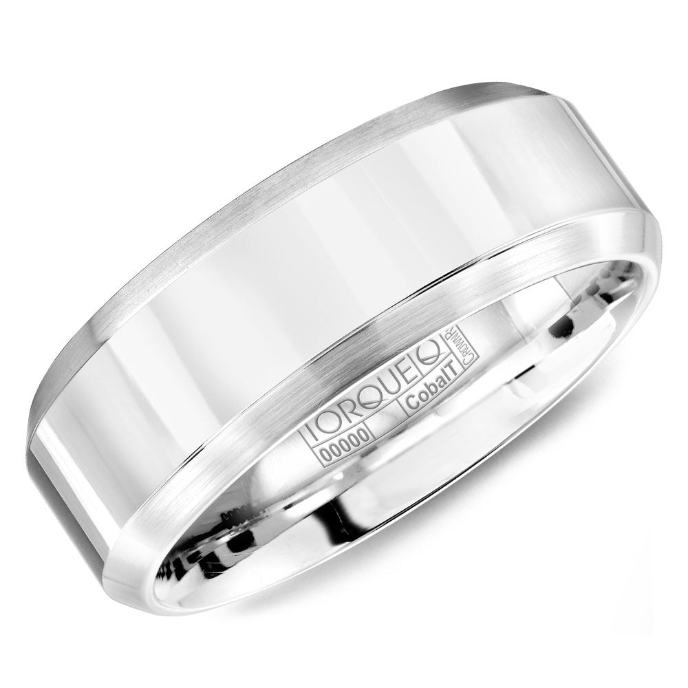 Torque Cobalt Collection 7MM Wedding Band with Brushed Beveled Edges CB-7103