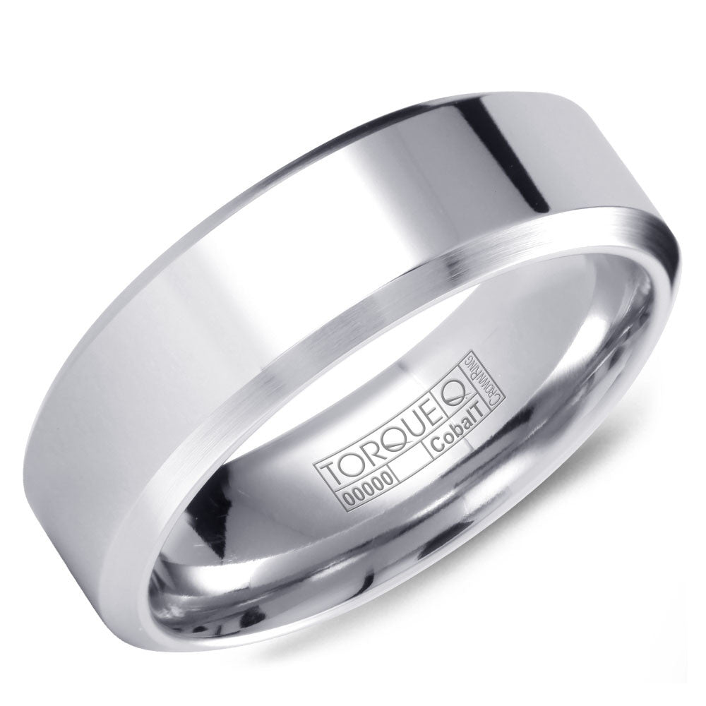Torque Cobalt Collection 7MM Wedding Band with Brushed Beveled Edges CB-7133