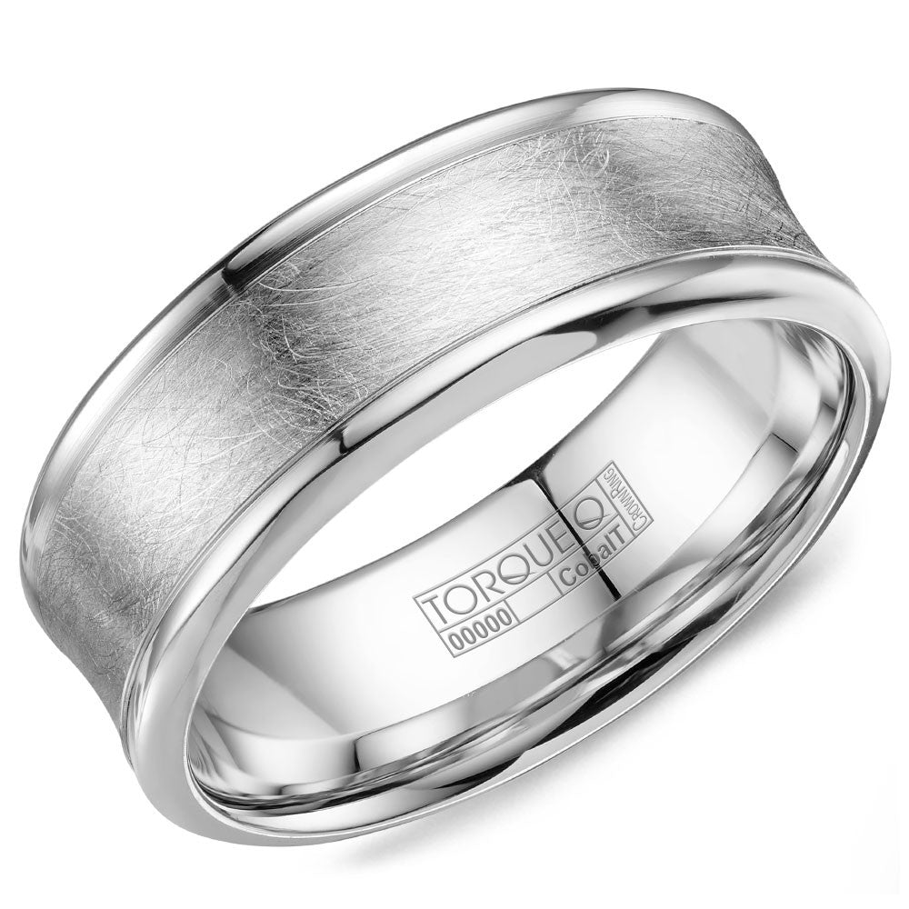 Torque Cobalt Collection 8MM Wedding Band with Brushed Inlay CB-8004