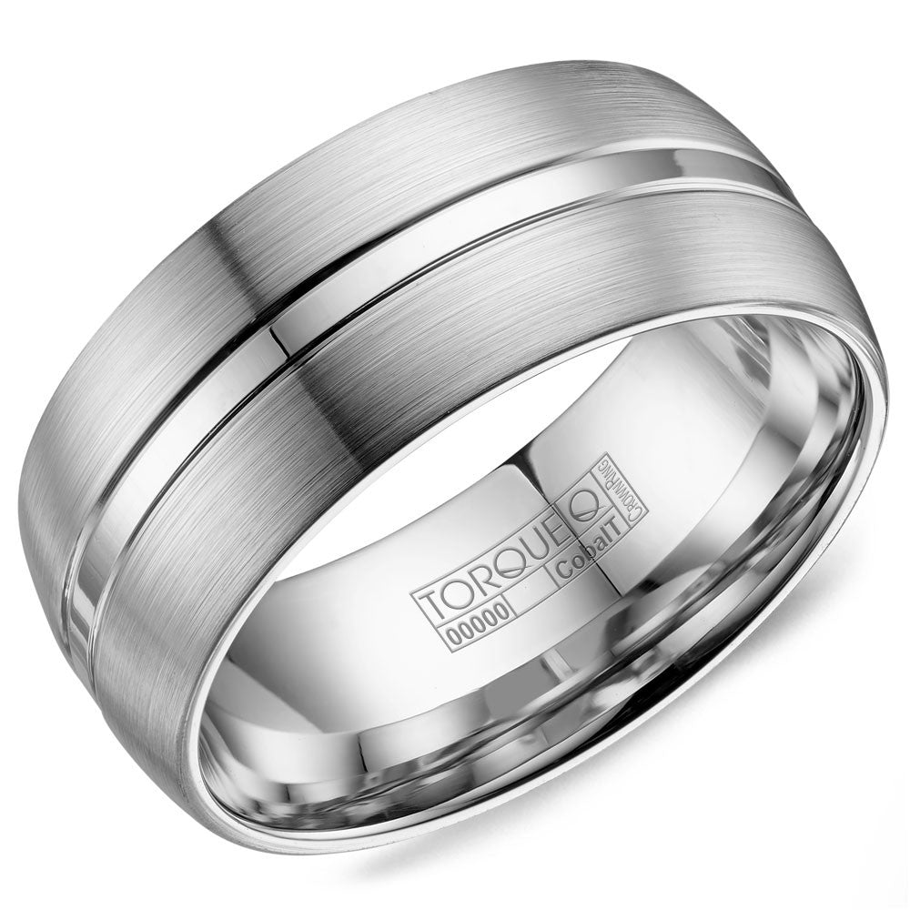 Torque Cobalt Collection 8MM Wedding Band with Brushed Finish & High Polished Inlay CB-8005