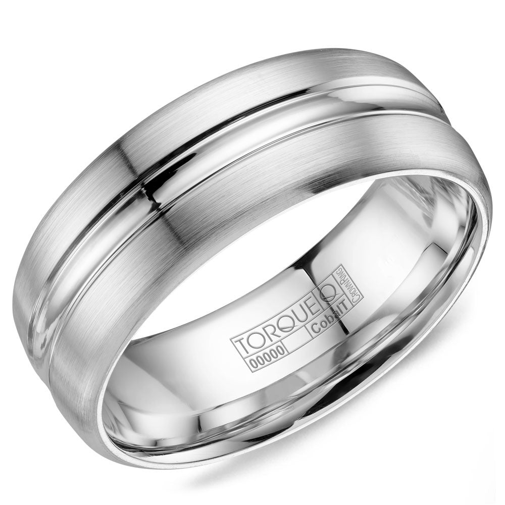 Torque Cobalt Collection 8MM Wedding Band with Brushed Finish & High Polished Inlay CB-8006