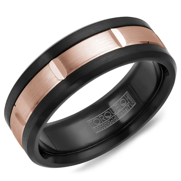 Torque Black Cobalt & Gold Collection 7.5MM Wedding Band with 14K Rose Gold Center CB002MR75