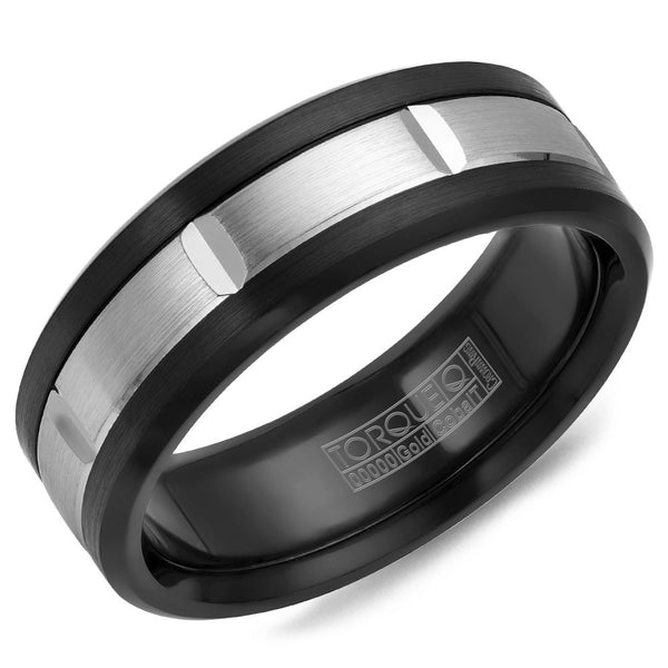 Torque Black Cobalt & Gold Collection 7.5MM Wedding Band with 14K White Gold Center CB002MW75