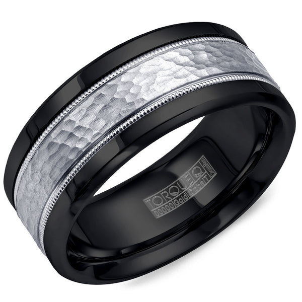 Torque Black Cobalt & Gold Collection 9MM Wedding Band with 14K White Gold Hammered Center CB003MW9