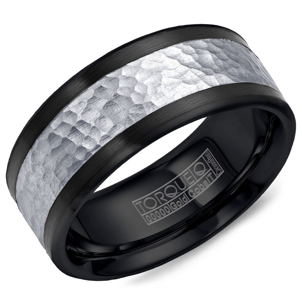 Torque Black Cobalt & Gold Collection 9MM Wedding Band with 14K White Gold Hammered Center CB005MW9