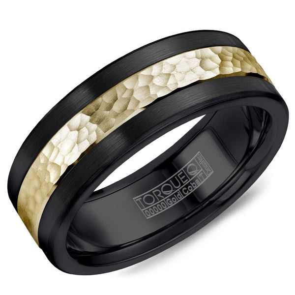 Torque Black Cobalt & Gold Collection 7.5MM Wedding Band with 14K Yellow Gold Hammered Center CB005MY75