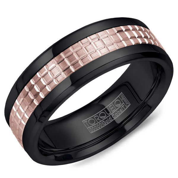 Torque Black Cobalt & Gold Collection 7.5MM Wedding Band with 14K Rose Gold Carved Center CB009MR75
