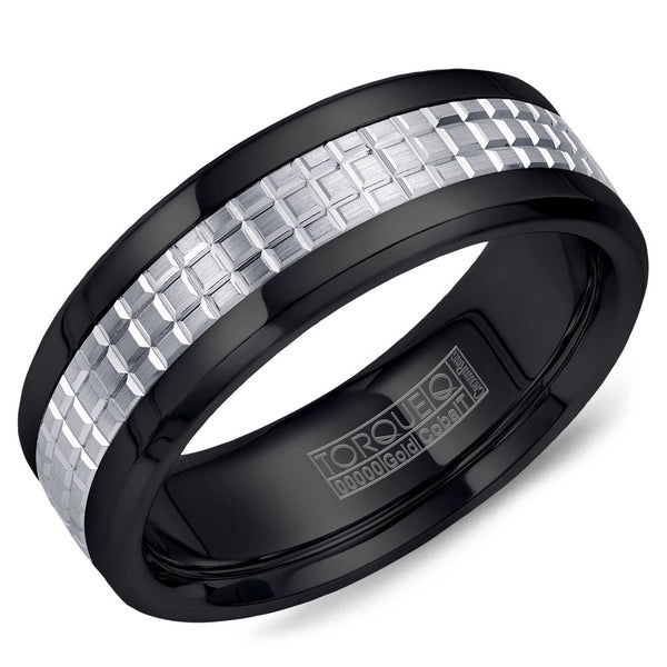Torque Black Cobalt & Gold Collection 7.5MM Wedding Band with 14K White Gold Carved Center CB009MW75