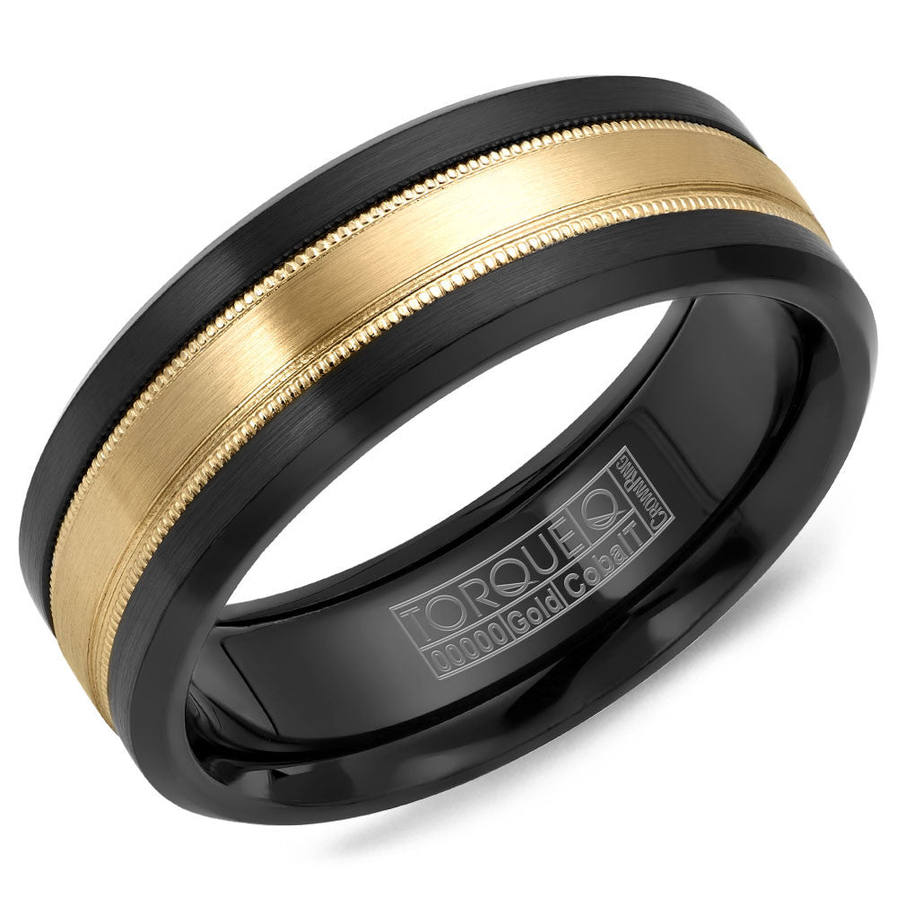 Torque Black Cobalt & Gold Collection 7.5MM Wedding Band with 14K Yellow Gold Carved Center CB035MY75
