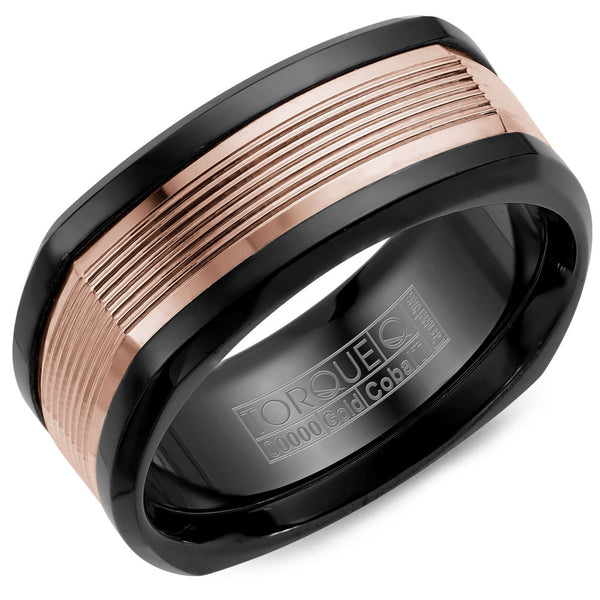 Torque Black Cobalt & Gold Collection 9MM Wedding Band with 14K Rose Gold Carved Center CB074MR9