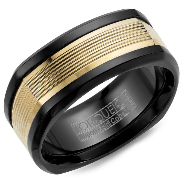 Torque Black Cobalt & Gold Collection 9MM Wedding Band with 14K Yellow Gold Carved Center CB074MY9