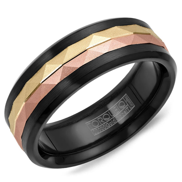 Torque Black Cobalt & Gold Collection 7.5MM Wedding Band with 14K Yellow/Rose Gold Center CB075MRY75