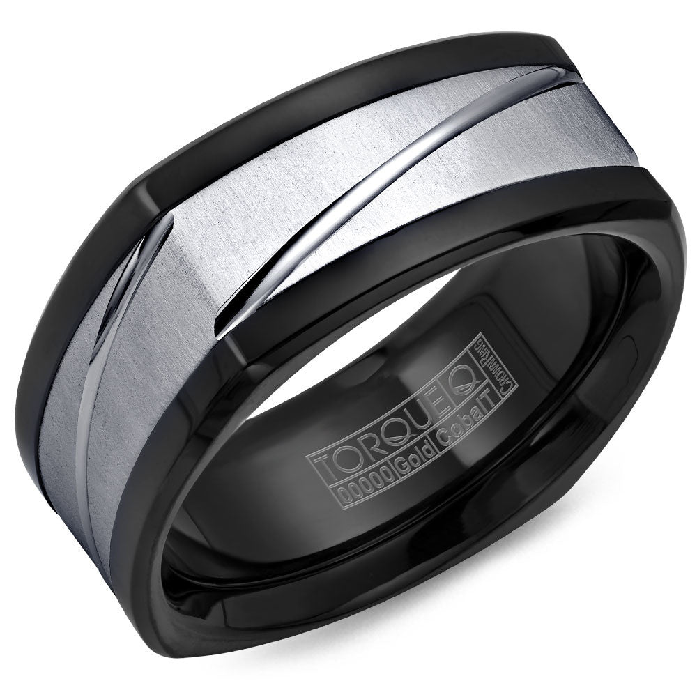Torque Black Cobalt & Gold Collection 9MM Wedding Band with 14K White Gold Center CB078MW9