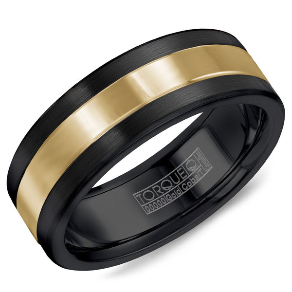 Torque Black Cobalt & Gold Collection 7.5MM Wedding Band with 14K Yellow Gold Center CB082MY75