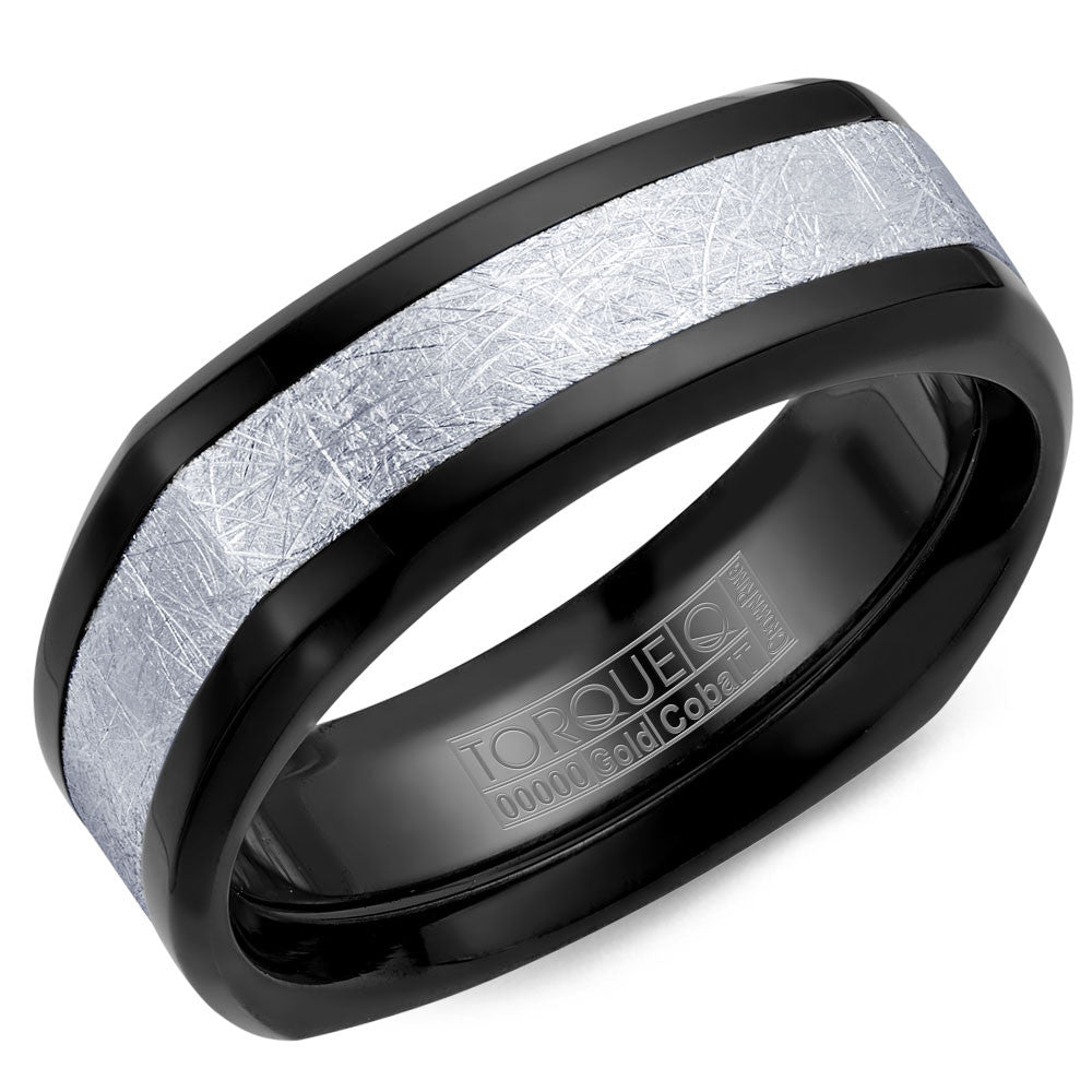 Torque Black Cobalt & Gold Collection 7.5MM Wedding Band with 14K White Gold Center CB084MW75