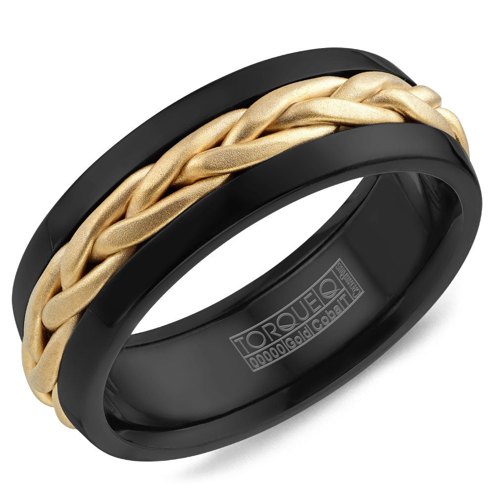 Torque Black Cobalt & Gold Collection 7.5MM Wedding Band with 14K Yellow Gold Center CB085MY75