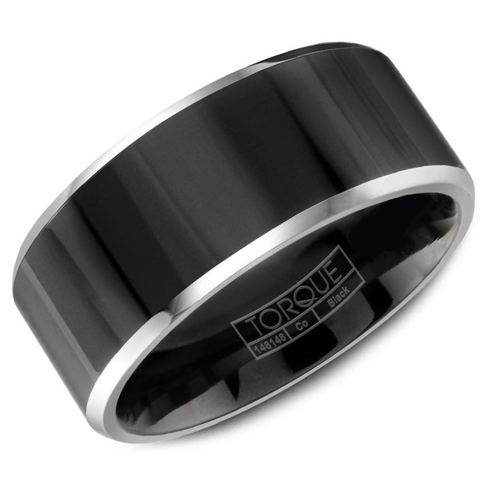 Torque Black Cobalt Collection 9MM Wedding Band with White Beveled Edge CBB-0004