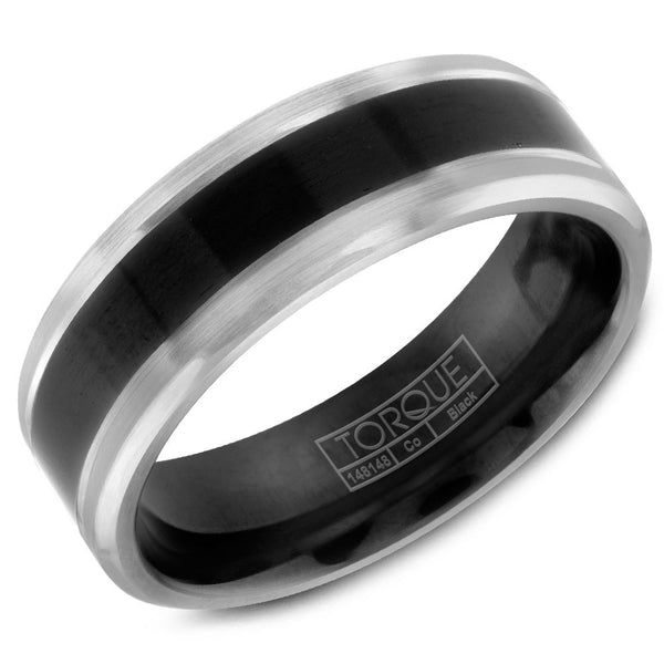 Torque Black Cobalt Collection 7MM Wedding Band with Brushed White Edges CBB-0018