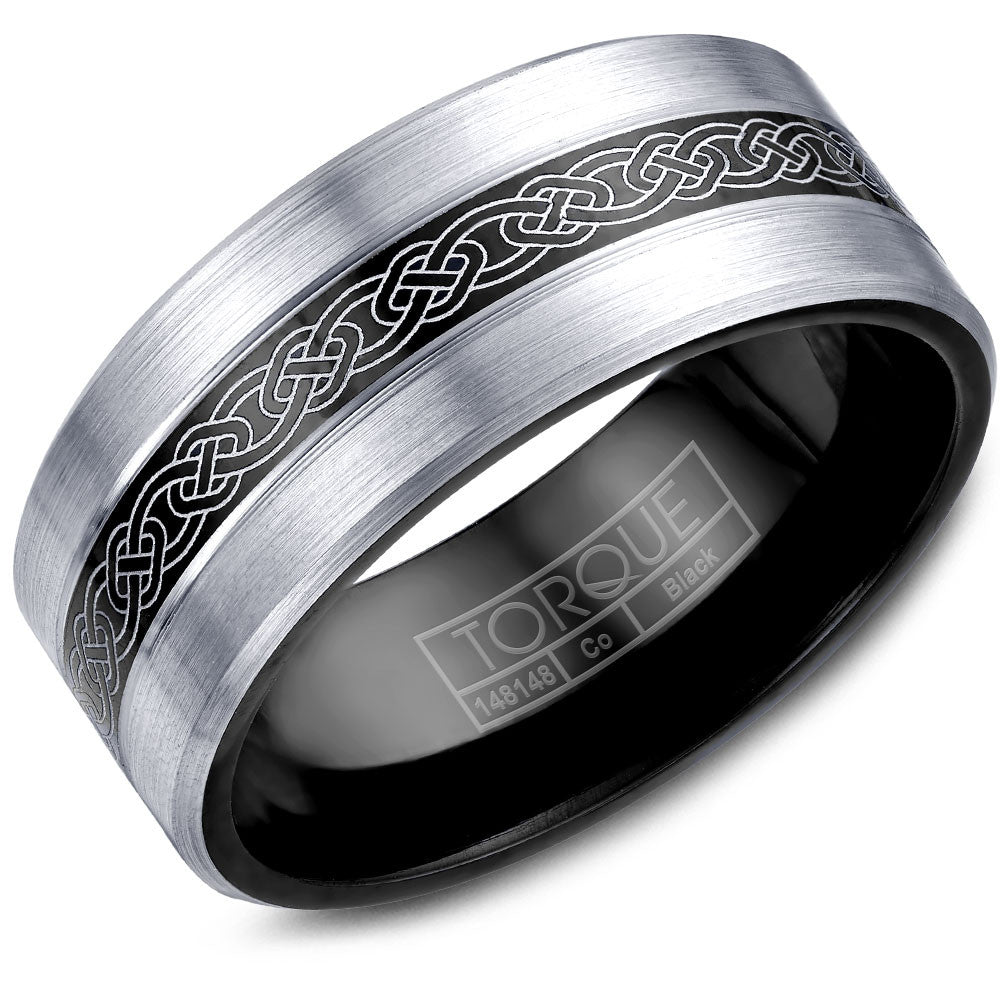 Torque Black Cobalt Collection 9MM Wedding Band with Engraved Design CBB-0028-03