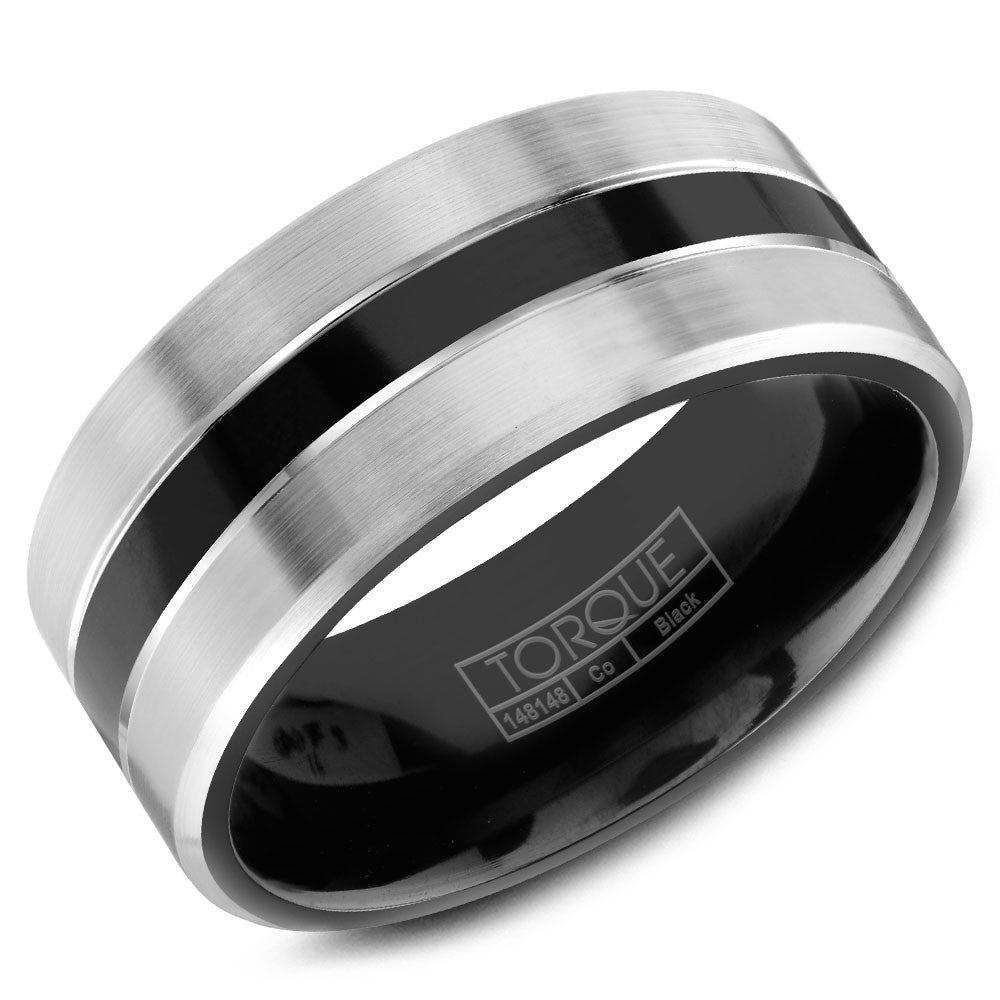 Torque Black Cobalt Collection 9MM Wedding Band with Brushed White Edges CBB-0028