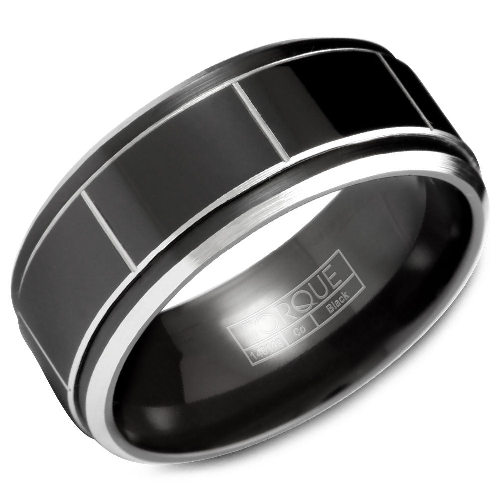 Torque Black Cobalt Collection 9MM Wedding Band with White Line Detailing CBB-2028