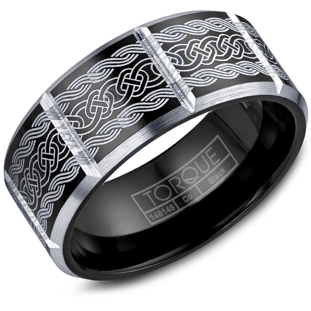 Torque Black Cobalt Collection 9MM Wedding Band with White Engraved Design CBB-2051