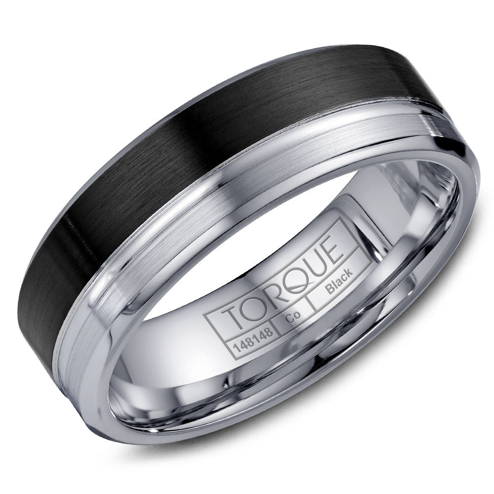 Torque Black Cobalt Collection 7MM Wedding Band with White Line Detailing CBB-2053