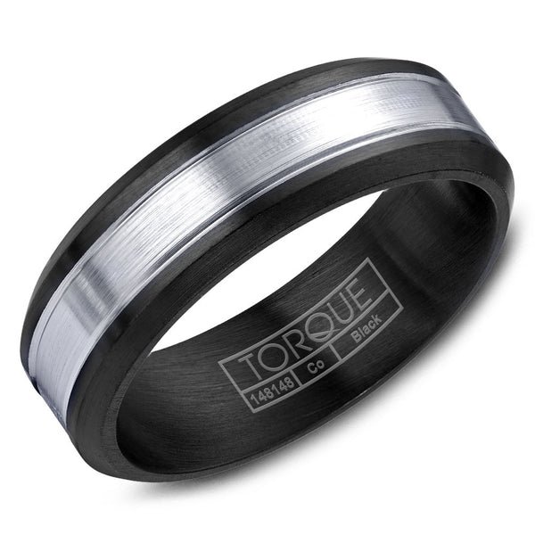 Torque Black Cobalt Collection 7MM Wedding Band with White Center CBB-2054