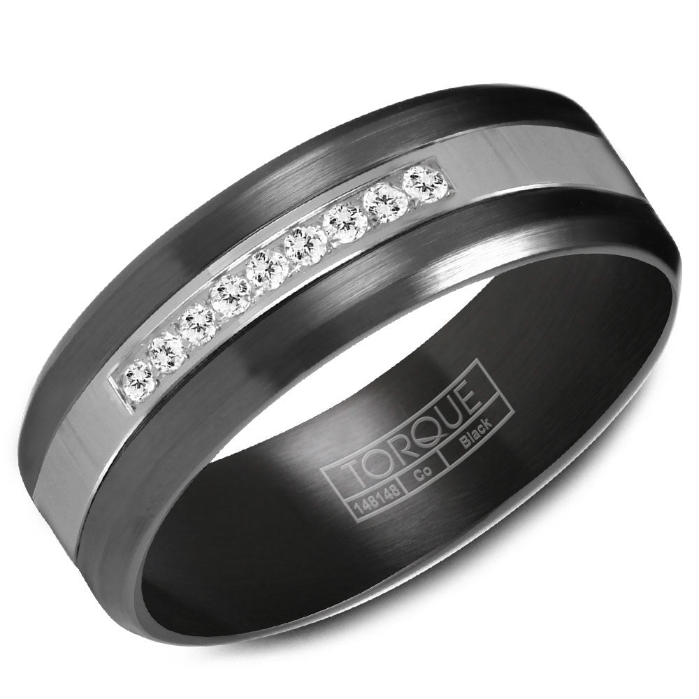 Torque Black Cobalt Collection 7MM Wedding Band with 9 Diamonds CBB-2131