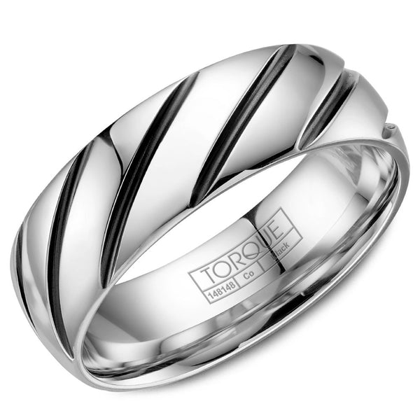 Torque Black Cobalt Collection 7MM Wedding Band with Stripe Detailing CBB-7000