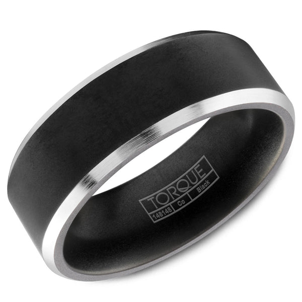 Torque Black Cobalt Collection 7MM Wedding Band with White Beveled Edges CBB-7003