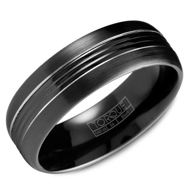 Torque Black Cobalt Collection 7MM Wedding Band with White Line Detailing CBB-7029