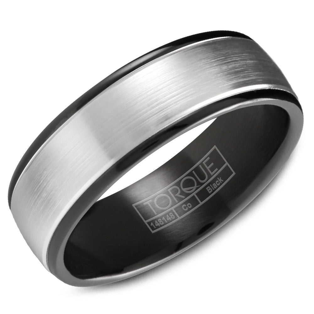Torque Black Cobalt Collection 7MM Wedding Band with White Center CBB-7034