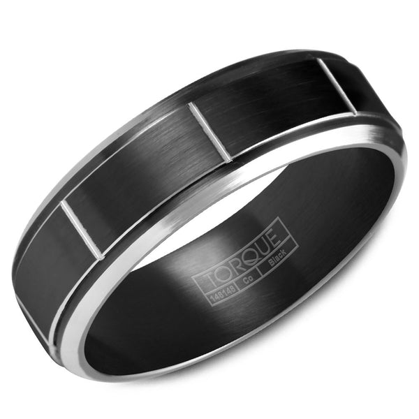 Torque Black Cobalt Collection 7MM Wedding Band with White Line Detailing CBB-7035