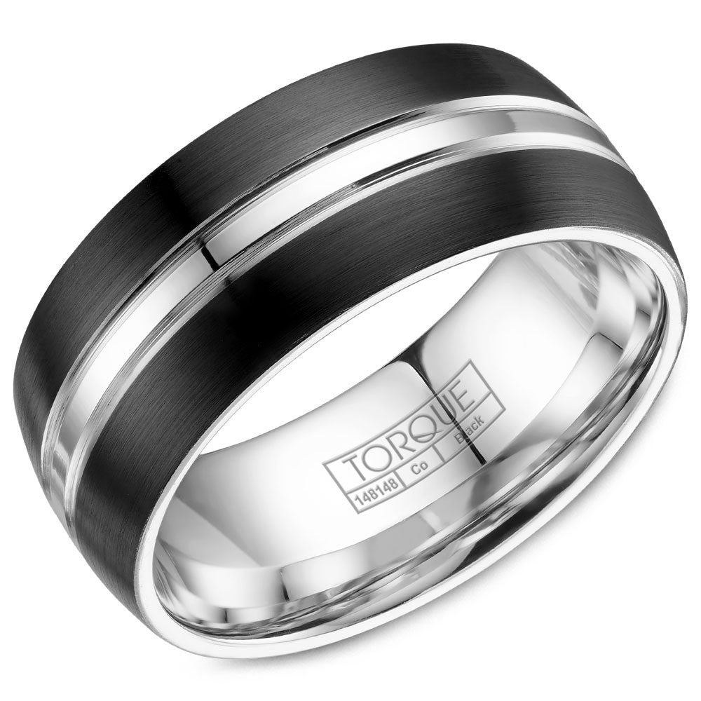 Torque Black Cobalt Collection 9MM Wedding Band with Polished Inlay CBB-9005