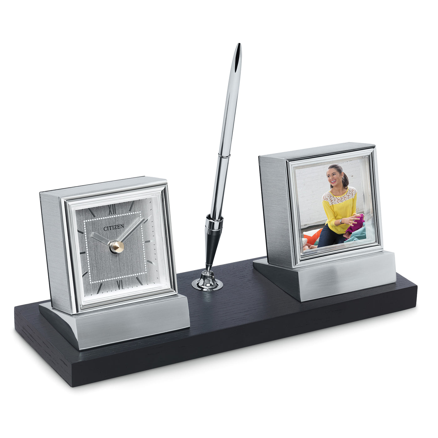 Citizen Executive Suite Wood Base Desk Clock W/ Photo Frame & Pen CC1001