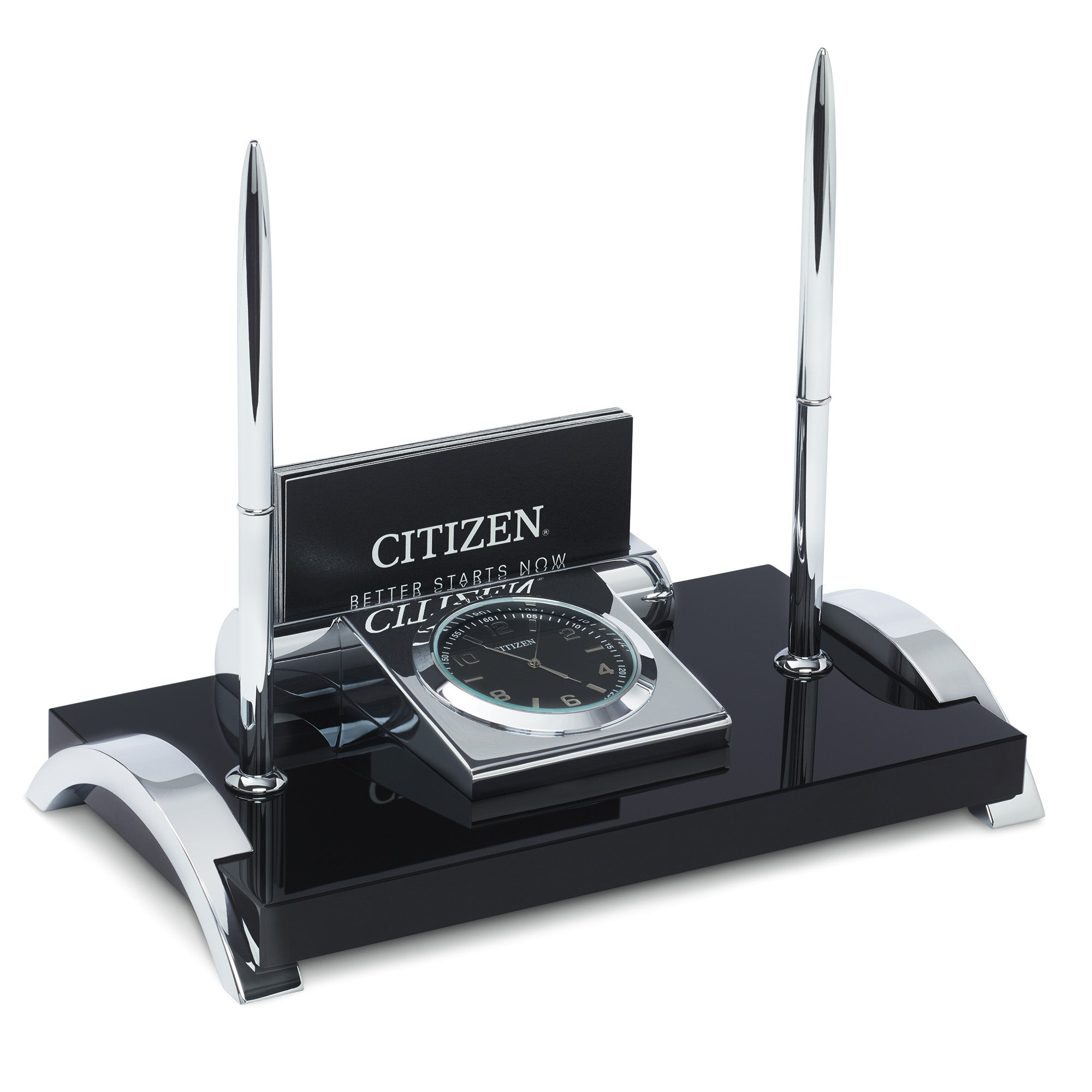Citizen Executive Suite Crystal Base Desk Clock W/ Card Holder & 2 Pen Set CC1002